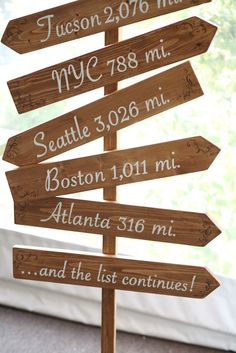 This fun signage pays a small tribute to all of the places that are special to the couple.