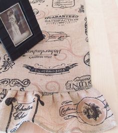 Printed Burlap Ruffled Table Runner French by supplierofdreams, $38.00