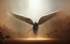 Jeux Vidéo Diablo III  Angel Tyrael Dark Wings Demon Sword Weapon Fond d'écran