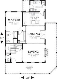 1915 Sq. Ft. home with Mudroom, Master Suite on 1st Floor.  Upstairs is great for kids.  Houseplans.com Cottage Main Floor Plan Plan #48-572