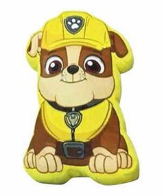 PAW-PATROL-RUBBLE-CHARACTER-PRINT-SHAPE-CUSHION-SOFT-YELLOW-KIDS-BOYS-CHILDRENS