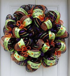 Trick or Treat Black Mesh Striped Halloween Wreath by dottiedot05, for more info see link