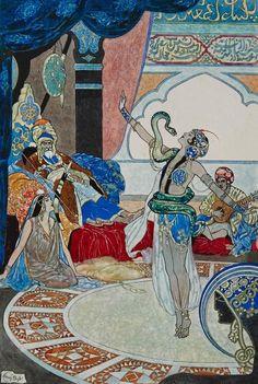 "msbehavoyeur: ""The Snake Charmer ~ RENE BULL (British, Pen and watercolor on paper laid on paper "" Medieval, Art Antique, Fairytale Art, Pen And Watercolor, Art Et Illustration, Art Moderne, Original Art For Sale, Ancient Art, Figure Painting"