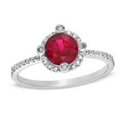 Lab-Created Ruby and Diamond Accent Frame Stack Ring in 10K White Gold