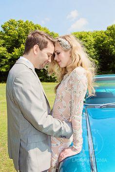Cadillac, bride and groom
