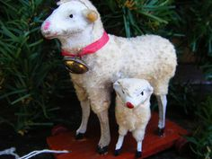 Antique 1920's WOOLY SHEEP GERMAN Pull Toy, Hand Painted
