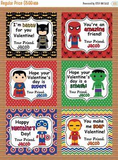 ON SALE Personalized Superheroes Boys Valentine Class Cards for School digital download custom party Batman Superman Spiderman Ironman Hulk