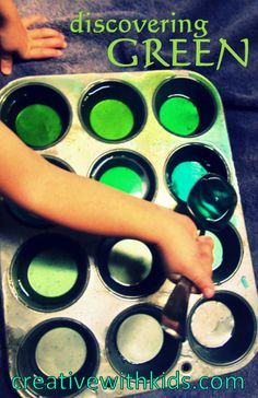 Discovering green - food coloring and water play makes a fun preschool color activity