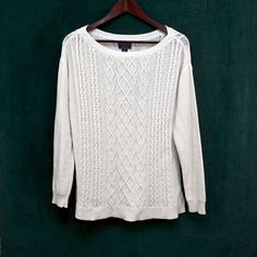 CHAPS - Sweater Classy, white & comfy sweater! Worn but in great condition! Chaps Sweaters