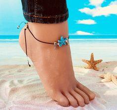 Ankle Jewelry, Ankle Bracelets, Jewlery, Boho Chic, Beach Anklets, Mermaid Jewelry, Turquoise, Starfish, Shells