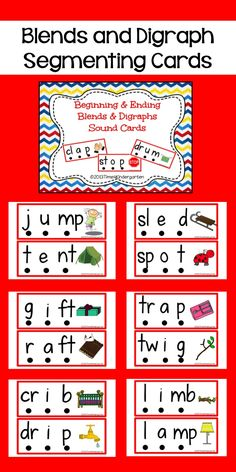 Blends and Digraphs Sound Segmenting Cards