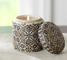 Ceramic Scented Candle Pot - We love candles that look great Candle Lanterns, Pillar Candles, Jar Of Hearts, Candle Diffuser, Bohemian House, Candle Making, Scented Candles, Pottery Barn, Decorative Pillows