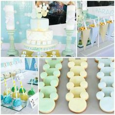 Baby mickey mouse party.  Karas party ideas....but pink and blue instead.