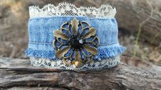 Check out this item in my Etsy shop https://www.etsy.com/listing/469192307/upcycled-denim-and-lace-bracelet-with