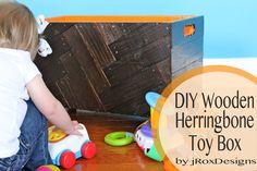 DIY herringbone toy box tutorial