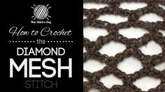 This video crochet tutorial will help you learn how to crochet the diamond mesh stitch. This stitch uses single crochet and chain stitches to create a very open diamond pattern. The diamond mesh stitch is great for making market bags, simple stoles and decorative items!
