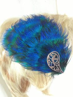 Peacock plumb feather and silver paisley hair by MAsMadHouse, $20.00