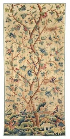 "Crewelwork Panel depicting the Tree of Life, with richly coloured exotic flowers, animals and birds and Oriental buildings. English, early-18th Century. 98¾"" x 46½"" (2,51m x 1,18m). Similar animals and birds appear on curtains in the Victoria and Albert Museum, London (Museum No. T172-1923) and the Metropolitan Museum of Art, New York Harris Lindsay − Catalogue − Miscellaneous"