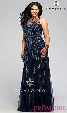 33d6968903a9f Floor Length Plus Size Beaded Prom Dress at PromGirl.com Plus Size Gowns