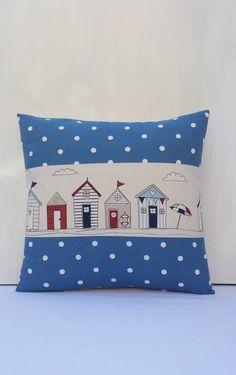 Nautical Cushion cover 16x16 Beach hut cushion Spotty pillow beige,blue,red,navy £7.49