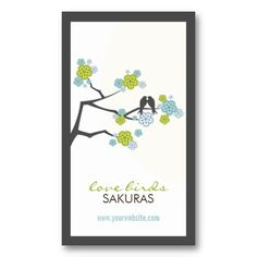 Cherry Blossoms Flowers Love Birds Profile Card by fatfatin