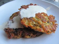 Zucchini Cakes with Basil Dipping Sauce, sounds tasty.