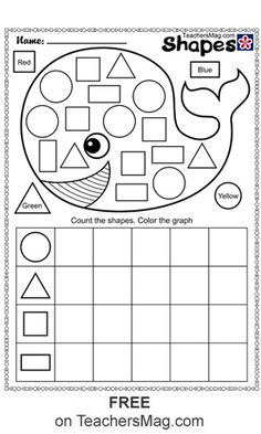 These free printable worksheets all involve the identification and counting of shapes. Shape Worksheets For Preschool, Grade R Worksheets, Shapes Worksheet Kindergarten, Shapes Worksheets, Preschool Learning Activities, Free Printable Worksheets, Preschool Printables, Preschool Shapes, Worksheets For Preschoolers