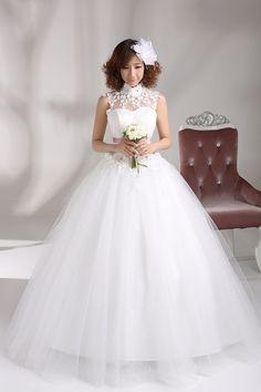 2014 new arrival printing turtleneck beading backless hollow design lace wedding dress vestido de noiva