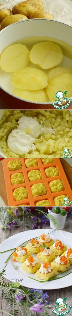 Картофельные мини-кексы со сливочным сыром и икрой