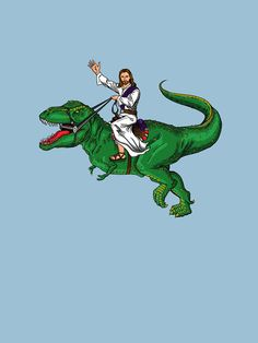 Jesus Riding a Dinosaur Jesus on a T-Rex … the King of Kings riding the king of dinos. Dinosaur Illustration, Illustration Art, Dinosaur Images, Dinosaur Dinosaur, Tyrannosaurus, Arte Pop, T Rex, Graffiti Art, Dark Art