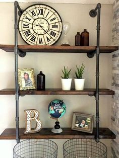 34 Industrial Black Iron Pipe Shelf Shelving (Lumber not Included) Iron Pipe Shelves, Industrial Pipe Shelves, Iron Shelf, Industrial House, Rustic Industrial, Wood And Pipe Shelves, Black Pipe Shelving, Industrial Office, Bedroom Decor
