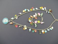 Capiz shells & beads on a long chain