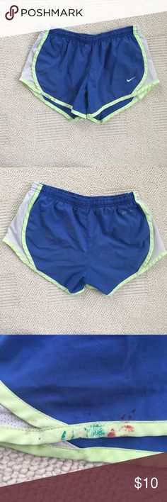 Girls Nike Shorts Nike dri fit Shorts--- They are a girls size 8 but fit a women size 00 - 2, on the front of the shorts there is a small paint stain and on the inside there is a green rectangle covering the name of the prior owner (this can not be seen from the outside) Nike Shorts