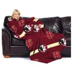 """Florida State Seminoles NCAA Adult """"Stripes"""" Comfy Throw Blanket with Sleeves"""