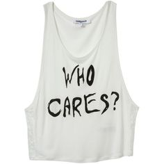 Teens White 'Who Cares' Vest ❤ liked on Polyvore featuring tops, shirts, tank tops, tanks, white tank top, vest tank, shirt vest, shirt tops and white singlet