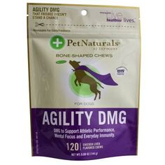 Pet Naturals of Vermont Agility DMG Bone Shaped Dog Chews has been designed to support performance, stamina, stress reduction, muscle recovery, mental focus and everyday immunity. Includes patented DMG to support immune system health, stress management, and stamina.