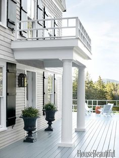 White house grey trim charcoal grey shutters grey roof for Portico entrance with columns