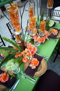 Beautiful tablescape with green and orange.