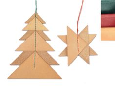 Set of 2 Leather Ornaments by KLNewYork