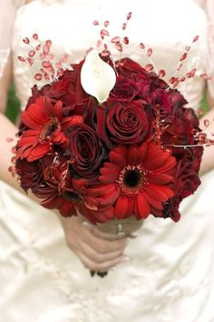deep red roses, deep red gerbera daisies, a single white calla lily with crystals.