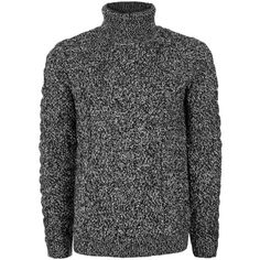 TOPMAN Black and White Twist Textured Roll Neck Jumper ($47) ❤ liked on Polyvore featuring men's fashion, men's clothing, men's sweaters, mid grey, mens cable knit sweater, mens cable sweater, mens grey sweater, mens black and white striped sweater and mens gray sweater