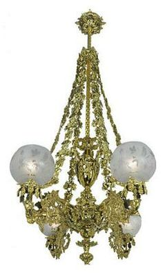 """Victorian Chandelier-Neo Rococo Cornelius Grape & Leaf 4 Light Chandelier (874-QCH-RG) This one is a show-stopper! Mounted in our showroom, most take a look and say, """"Wow!"""". Circa 1840, recreated neo-Rococo gas (now electric) chandelier attributed to Cornelius. This is a 4 light neo-rococo style with drooping chains."""