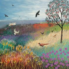 Print on paper of an English landscape with Rowan Tree, pheasant and birds from an original acrylic painting 'The Rowan Tree' by Jo Grundy Tree Canvas, Canvas Art, Canvas Prints, Art And Illustration, Landscape Art, Landscape Paintings, Landscapes, Art Carte, Naive Art