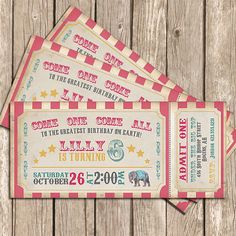 Circus Invitation Girl Pink Vintage Circus Ticket - Printable Invitation