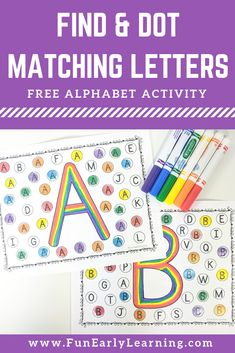 Find and Dot Matching Letters Free Printable Fun no prep literacy activity for learning letter recognition letter identification and matching Perfect for preschool kinder. Letter Identification Activities, Letter B Activities, Teaching Letter Recognition, Teaching Letters, Preschool Letters, Alphabet Games, Letter Tracing, Kindergarten Literacy, Preschool Learning