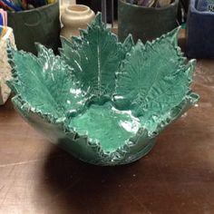 Slab built leaf bowl