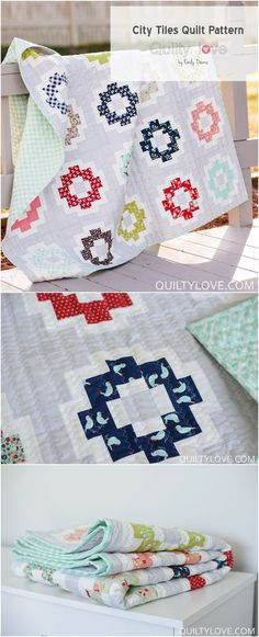 City Tiles quilt pattern made with Bonnie and Camille's Vintage Picnic fabric. Quilt pattern by Emily of Quiltylove.com
