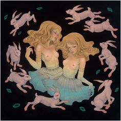 """""""Under the Full Moon"""" by Audrey  Kawasaki - Oil, acrylic and graphite on wood panel"""