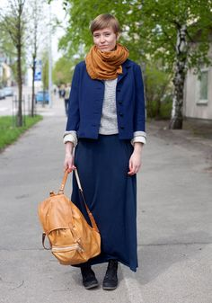 """Tiina - Hel Looks - Street Style from Helsinki """"I like comfortable natural materials, backbags, the combination of yellow and blue, simple colours and sailor influences."""""""