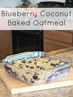YUM! Blueberry Coconut Baked Oatmeal. Perfect for brunch or Breakfast for Dinner! #vegetarian #breakfast